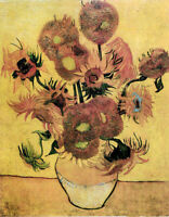 Oil painting Vincent Van Gogh - vase with fifteen sunflowers still life flowers