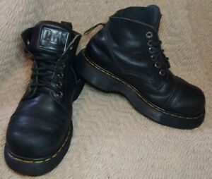 Vintage Women's Dr. Martens Black Leather Square Toe Platform Boots Size 11