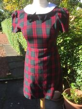 Cute Primark Check Dress Size UK 8 Tartan  Vintage White Collar School Office