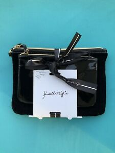 2 piece gift set Kendall + Kylie black velvet removable travel pouches