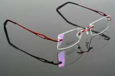 Memory Titanium Red Eyeglass Frame Rimless optical Glasses Spectacles Rx able