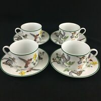 Lot of 4 VTG Cups and Saucers National Wildlife Federation WFE7 Hummingbird