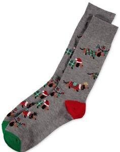Gray Men's Dachshund Doxie Sausage Dog Holiday Christmas Reindeer Crew Socks