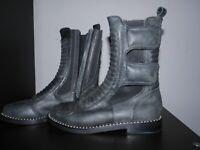 Size 6 Jeffrey Campbell Combat Boots Women's Black Dark Gray LeatherPolice 2