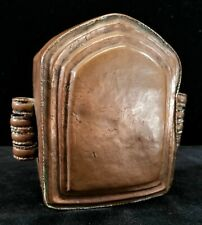 Vintage Handmade Copper Trinket Box Hinged Lid & Latch 5-Sided 5x5.2x2 Inches VG