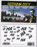 Gotham City Batman Villain THE JOKER Collectible Drivers License fake id card
