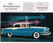 1955 DODGE Custom Royal Lancer 2-door Coupe Parisian Blue & White Vtg Print Ad