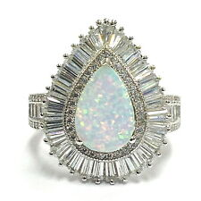 ART DECO INSPIRED WHITE FIRE GILSON OPAL RING 925 STERLING SILVER SIZE - 7
