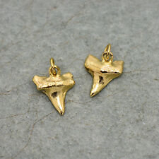 Small Mako Shark Tooth - 24k Gold Plated Small Real Sharktooth Charm Pendant