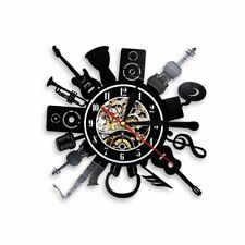 ROCK Wall Clock Large Design Guitar Music Love Gift Drums Instrument Style Fancy