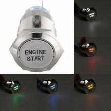 Interrupteur Bouton Poussoir Rond Acier Inox 12V 19mm ENGINE START Commutateur