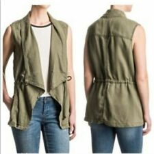 NWOT $30 MAX JEANS OLIVE ARMY GREEN UTILITY DRAPED VEST - Size S