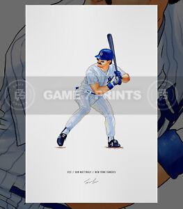 Don Mattingly New York Yankees Baseball Illustrated Print Poster Art