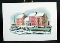 "PLB Mid Century Snowy Harbor Scene Unused Vtg Christmas Card w/Envelope 5"" x 7"""