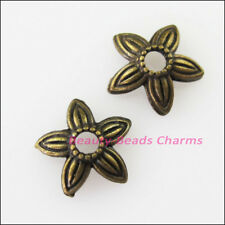 40 New Connectors Leaf Star Antiqued Bronze Tone End Bead Caps 8mm