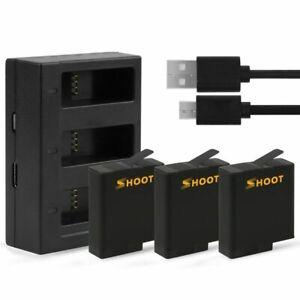 SHOOT 3 Akku + USB-Ladegerät für GoPro HERO 6 / HERO 5 Schwarz AHDB-501