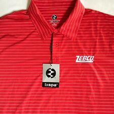 Ixspa Mens Red White Stripe Zebco Fishing S/S Polo Shirt Size Xl Nwt Msrp $55