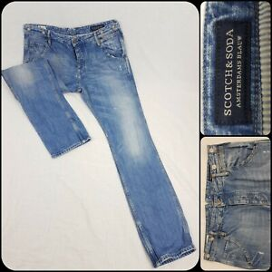 Scotch & Soda Mens BREWER Jeans W34 L32 Blue Button Fly Straight Distressed