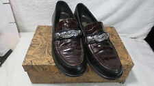 LADIES BLACK PENNY LOAFER SHOES SIZE 7.5 BROWN CROC IN BOX ITALY 7 1/2 CHESTNUT