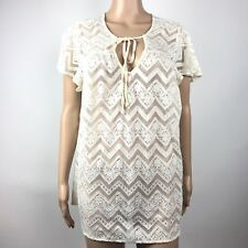 d095e6cdb1e Torrid Women s Blouse Floral Sheer Lace V Neck Short Sleeve Ivory Size 00  US 10
