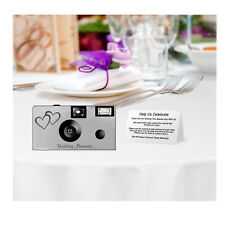 15 Silver Foil Double Hearts Disposable Cameras-wedding/anniversa ry (F50146)
