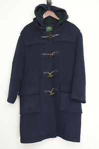VTG Morris Mufti Mens Duffel Coat 44 Solid Navy Blue Hooded Toggle England