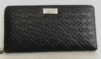 New Kate Spade Neda Penn Place Embossed Leather zip around wallet Black