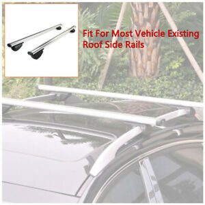 Universal Car Roof Rail Luggage Rack Baggage Carrier Cross Aluminum Siver Set