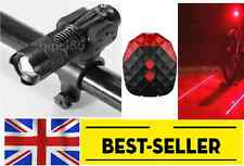 Front led and rear lights set - light red laser torch zoomable lantern bike UK
