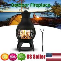"42.1"" Chiminea Outdoor Fire Pit Fireplace Patio Firepit Wood Burning Heater Iron"