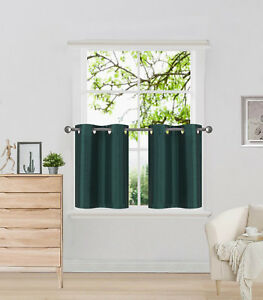 """2 SOLID SHORT GROMMET PANELS WINDOW CURTAINS FOR ANY ROOM 24"""" OR 36"""" LENGTH"""
