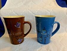 Mulberry Home Collections Cocoa Coffee Mug Brown Blue lot of 2