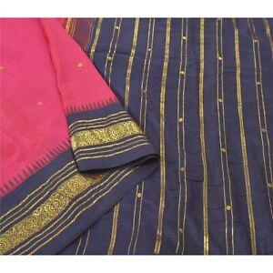 Sanskriti Vintage Pink Sarees Pure Silk Woven Brocade Sari Premium Craft Fabric