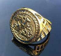 St George Gold gf Ring Mens Boys Half Sovereign Chunky Adjustable