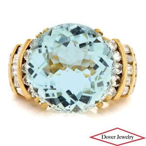 Estate 17.12ct Aquamarine Diamond 18K Gold Cocktail Ring 18.4 Grams NR