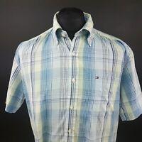 Tommy Hilfiger Mens Vintage Casual Shirt LARGE Short Sleeve Blue Regular Fit