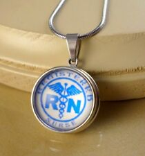 NURSE RN gifts for Nurses SNAP BUTTON CHARM PENDANT W/ Steel NECKLACE
