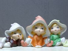 Vtg Homco Easter Garden Pixies Elves Ceramic 3 Figurines Set 5214 Home Decor Lot