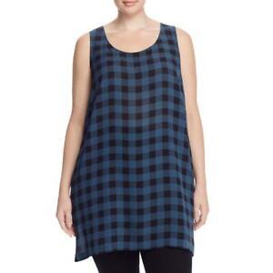 NWT $258 Eileen Fisher Fir Scoop Neck Buffalo Check Silk Top size   3X