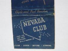 NEVADA CLUB LAKE TAHOE NEVADA 30 STICK LION MATCHBOOK VINTAGE ADVERTISING