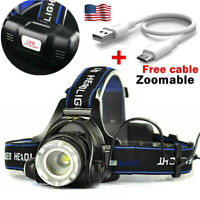 18650 Headlamp Tactical 60000LM T6 LED Zoomable Hiking Torch Headlight&USB USA .