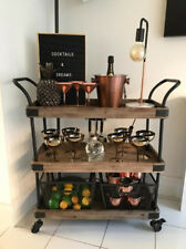 Vintage Industrial Trolley Side Drinks Table Serving Shelves Cart Wood Furniture