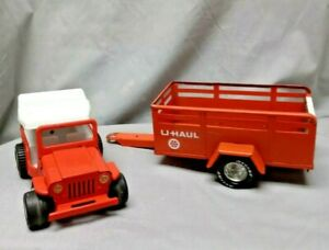 VINTAGE NYLINT PRESSED STEEL U-HAUL TOY MOVING TRAILER WITH JEEP
