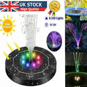 LED Solar Panel Powered Fountain Water Feature Pump Garden Pool Pond Aquarium UK