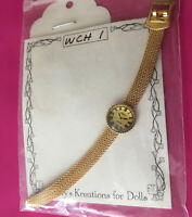"VTG KATHY'S KREATIONS GOLD TONE METAL 6""  DOLL WRIST WATCH 18' -22"" UNUSED PKG,"