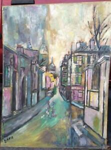 MCM Vintage Expressionism Painting Landscape Cityscape French Paris