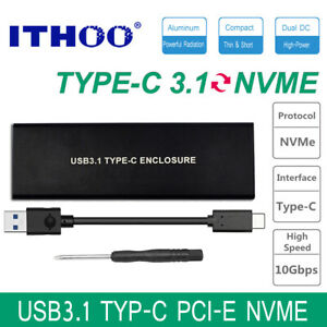 ITHOO ENCU3NV-JO1 NVME USB 3.1 PCI-E NVNE NGFF SSD HDD Enclosure C3.1 M.2 to USB