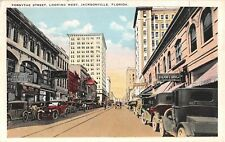 1925 Early Cars Stores Forsythe St. looking West Jacksonville FL post card