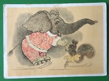 1966 The elephant and the squirrel are skaters  by Golubev Soviet postcard