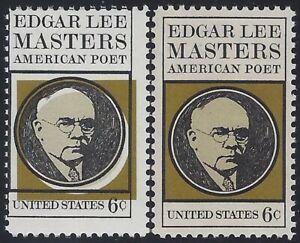 """1405 - 6c Huge Black Color Shift Error / EFO """"Edgar Lee Masters"""" Poet Mint NH"""